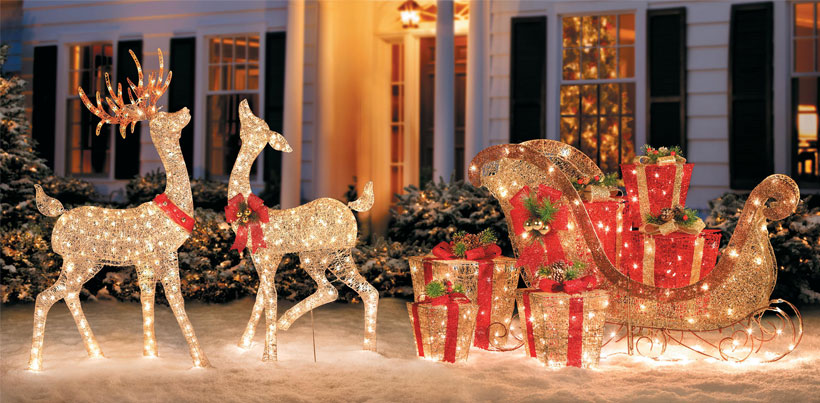 Outdoor Christmas Reindeer Decorations Lighted